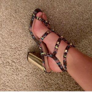 Qupid printed metallic gold strappy heels SZ 6